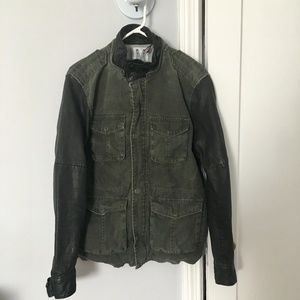 Members Only Mens Jacket with Leather Sleeves